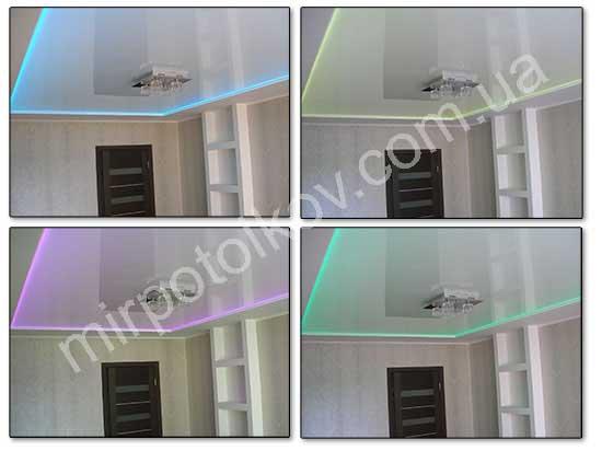 цветная подсветка белого натяжного потолка