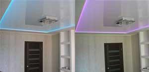 подсветка натяжного потолка за пленкой