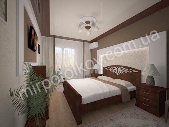 бежево-коричневый комбинированный натяжной потолок