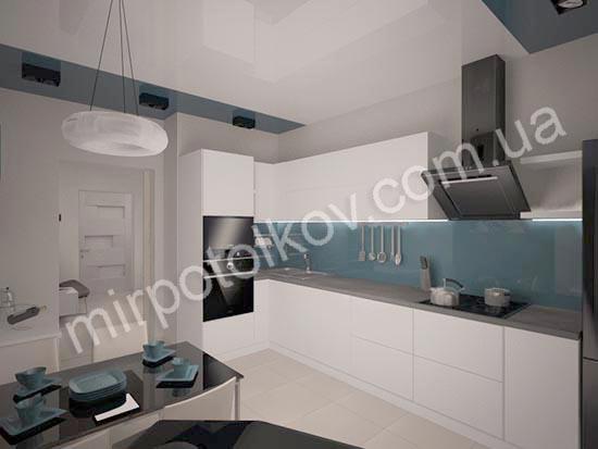 двухцветный глянцевый потолок на кухне