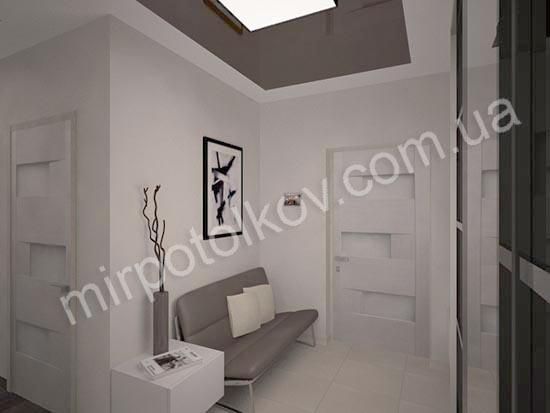 двухцветный глянцевый потолок в прихожей