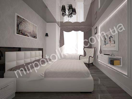 бело-коричневый натяжной потолок
