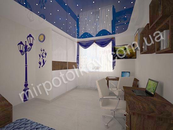 комбинированный потолок со звездами