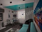зонирование комнаты двухцветным потолком