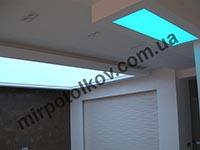 зонирование кухни и зала натяжным потолком