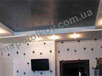 натяжной потолок серый металлик