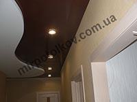 коричневый потолок с точечными светильниками