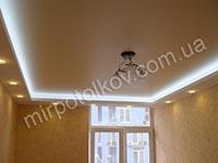 сатиновый натяжной потолок с подсветкой