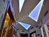 светящиеся треугольники на потолке в прихожей