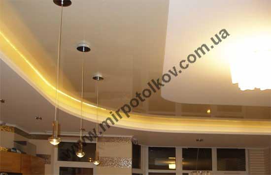 подсветка натяжного потолка в гипсокартонном коробе