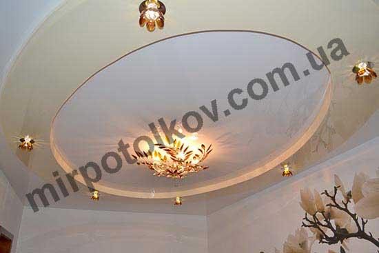классические точечные светильники в двухуровневом потолке
