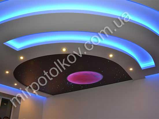 звезды на черном натяжном потолке с планетой