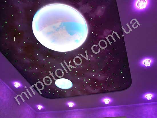 светящиеся планеты на натяжном потолке, падающие кометы